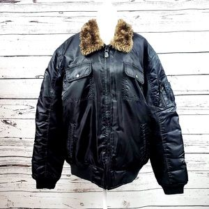 Southpole Black Thermal Bomber Puffer Jacket